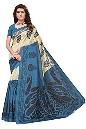 Indira Designer Cotton with blouse piece Saree (MRINA-BLUE-FBA_Multicolor_Free Size)