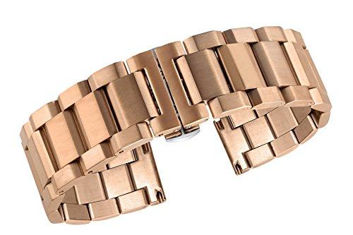 22mm hochwertiges Metall Uhrenarmband Ersatz Satin Roségold Armband für Luxus Uhren Edelstahl