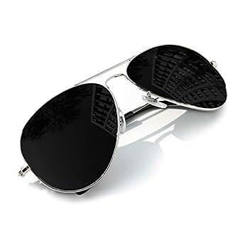 Homme Femme Pilot Silver Black Miroir Lunettes De Soleil Unisex Mirror MFAZ Morefaz Ltd