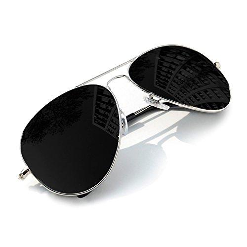 Aviator Silver Black miroir Lunettes de soleil UNISEX Sunglasses mirror MFAZ Morefaz Ltd