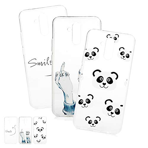 LaVibe 3 X Coques Huawei Mate 20 Lite, Étui Gel Silicone TPU Transparant Design Protecteur Housse Anti-Rayures Pare-Chocs Bumper Souple Ultra Slim Flexible Soft Case Cover - Panda