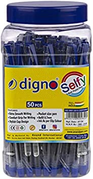 Digno Selfy Ball Pen (50 Pens Jar - Blue)|Comfort & Extra Smooth Writing Ball