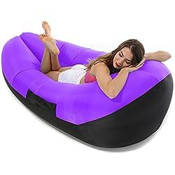 Tumbona hinchable, sofá hinchable, sofá, sofá, sofá, piscina, tumbona de playa con bolsa de transporte al aire libre, puf para camping, piscina y festivales morado morado 78.7x33.5x27.6inch