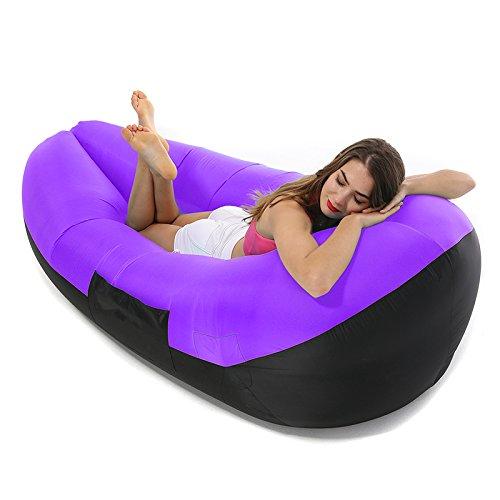 Aufblasbare Liege Air Sofa, Air Hängematte Wasserdicht Pool Float Air Chair Sitz Couch Lazy Bag mit tragbaren Paket für Backyard Strand Reisen Camping Wandern Angeln Musik Festivals von asdomo, violett, L(78.7x33.5x27.6inch) (Angeln Pool Bag)