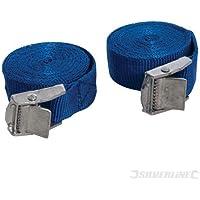 Silverline 449682 Spanngurte mit Metall-Klemmschnallen, 2,5 m x 25 mm, 2-tlg. Satz 25 mm x 2,5 m