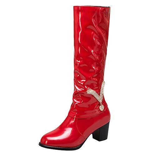 Fuibo Damen Retro Lackstiefel, Winter Frauen Strass High Heel Lackleder Stiefel Slip-On Mittelrohr Stiefel | Stiefeletten Ankle Boots (39 EU, Rot)