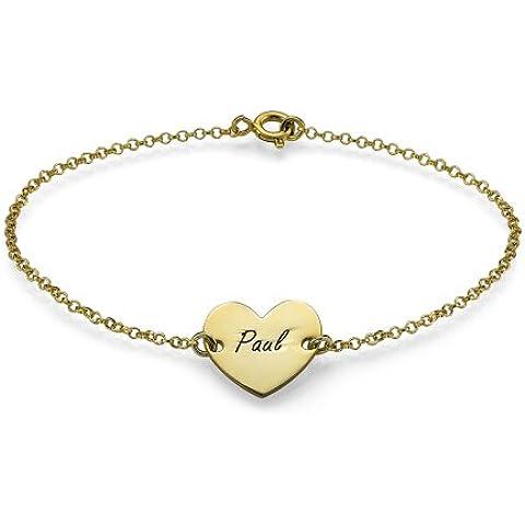 Chapado en oro pulsera del corazón - personalizable con cualquier nombre! Grabado gratuito!