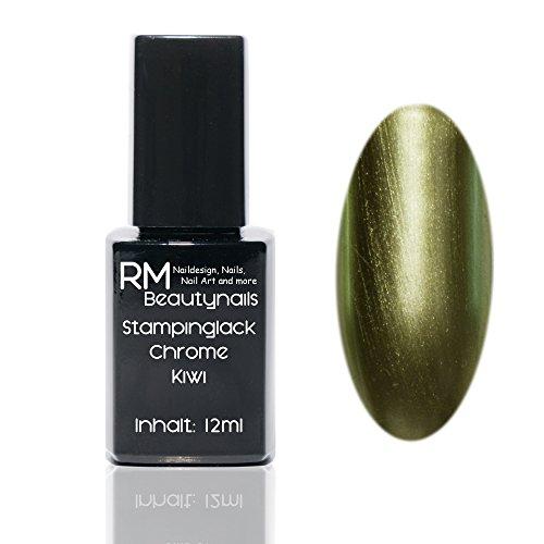 Chrome Effekt Stampinglack Kiwi Grün 12ml Stamping Lack Nagellack Nail Polish RM Beautynails (Kiwi Polish Set)