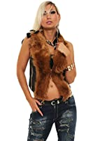 10148 Fashion4Young Damen Luxuriöse trendige Fell-Weste Jacke Jäckchen verfügbar in 5 Farben 2 Gr.