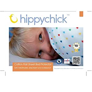 Hippychick Mattress Protector Flat Sheet, 75 x 50 cm - Pram/Crib, White
