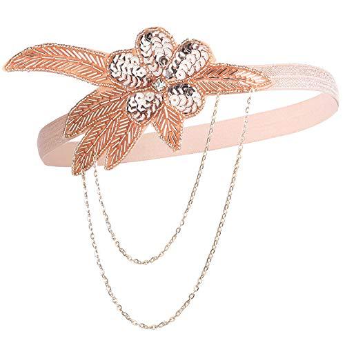 Flapper Champagner Kostüm - Coucoland Damen 1920s Stirnband mit Kette Blatt Muster 20er Jahre Stil Flapper Charleston Haarband Great Gatsby Damen Fasching Kostüm Accessoires (Champagner)