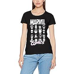 Marvel Comics Multi Heads Ladies, Camiseta para Mujer, Negro (Black 001) 38 (Tamaño Fabricante:Small)