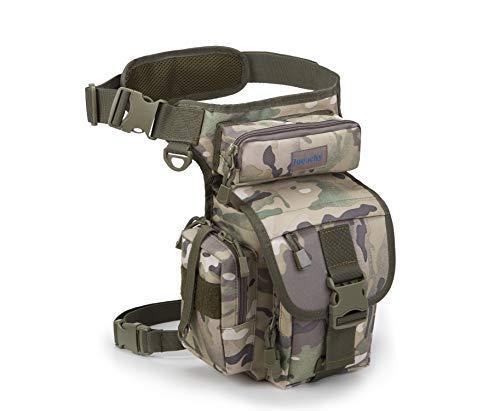 Jueachy Multifunktionale Taillentasche, Taktische Militär-Oberschenkel-Hüfttasche für Motorradfahren, Wandern, Reisen, Angeln, Werkzeugtasche mit Abnehmbarer Wasserflaschentasche, Camouflage - Airsoft Gun Wartung