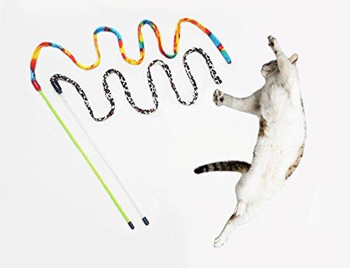 H for Happy Home - 2 cannette con nastro ondeggiante, giocattolo interattivo per gatti + polvere naturale di erba gatta e matatabi