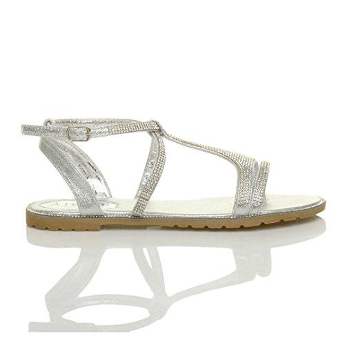 Donna piatto cinturino alla caviglia t-bar elegante infradito sandalo numero Argento