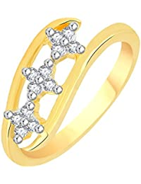 VK Jewels Three Stars Gold And Rhodium Plated Alloy CZ American Diamond Ring For Women [VKFR2768G]