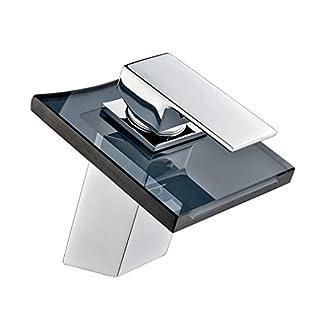 Auralum® Bathroom Sink Taps Mixer Glass Waterfall Basin Mixer
