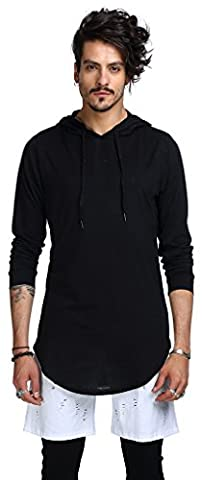 Whatlees Chemise ¨¤ capuche ¨¤ manches longues ¨¤ manches longues ¨¤ manches longues B415-Black-S