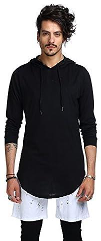 Whatlees Mens Hip Hop Extra Long Design Solid Long Sleeve Side Zipper Pullover Hoodie Shirt B415-Black-S