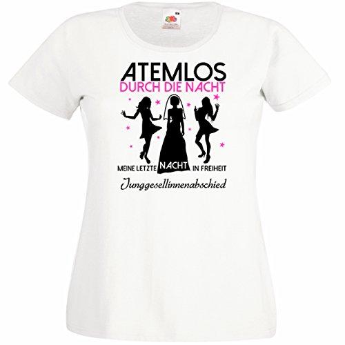 Damen T-Shirt für den Junggesellenabschied mit Motiv Atemlos - MEINE letzte Nacht in Freiheit (Frauen/Braut) in weiss, Größe M