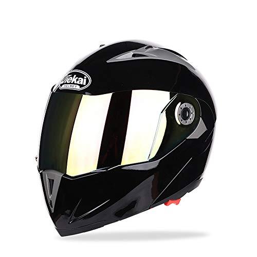 ETH Verkleideter Helm mit Doppellinsen-Herren- und Damen-Fullface-Helm, schwarz/matt schwarz/grau/rot Qualität (Farbe : Black, Size : XL)