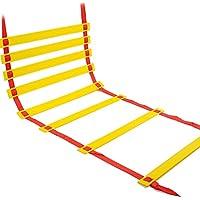 Shi18sport Escalera de Fútbol, Entrenamiento Físico, Escalera de Salto, Escalera de Energía, Entrenamiento de Fútbol, Escalera de Saltar, Escalera de Cuerda, Escalera Suave, 8 Meters and 16 Plates