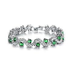 Idea Regalo - Bracciale tennis con Verde smeraldo simulato Cristalli austriaci di zirconi 18 kt placcato oro bianco per donne 17 cm