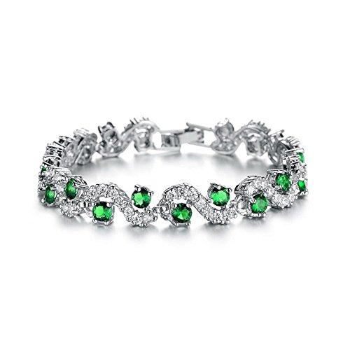 18K Placcato oro bianco Gp Verde Smeraldo cristalli Swarovski–Braccialetto elegante nuovo