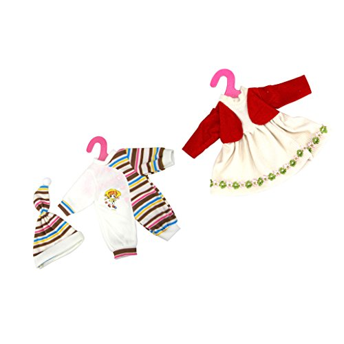 Sharplace 2 Sets Puppen Kleidung Set für 14-16 Zoll Puppen - Overalls Pyjamas & Hut + Puppenkleid (Doll Dress Up Kostüm)