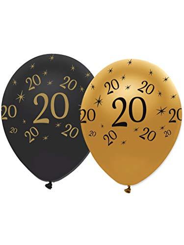 6 Globos látex negro y dorado 20 años - Única