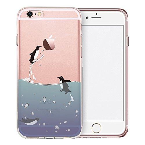 Coque iPhone 7, TrendyBox PC Hard Cover avec soft TPU Pare-chocs pour iPhone 7 (Fleur de Cerisier et Lapins) Manchots