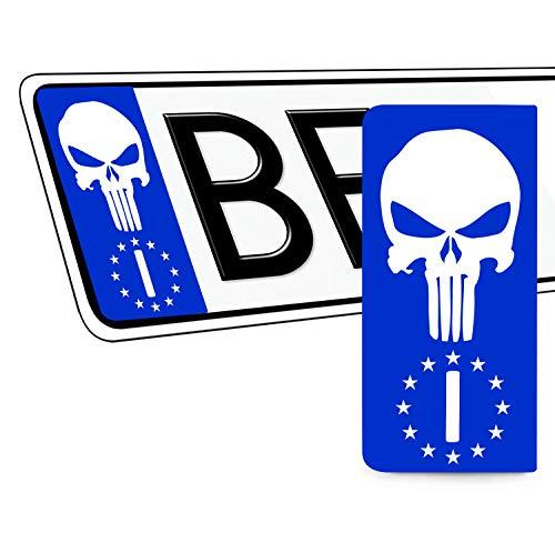 Skino 2 x Adesivi Vinile per Targa Stickers Auto Motociclo Tuning Bandiera Italia Europa Identificazione Europeo Punisher Skull Teschio Cranio EU QV 42