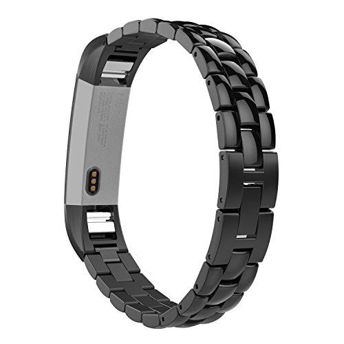 MoKo Armband für Fitbit Alta / Alta HR - Edelstahl Replacement Wrist Band Watchband Strap Uhrenarmband Erstatzband mit Metallschließe & Schnalle Watch Band für Fitbit Fitness Armband Alta, Schwarz