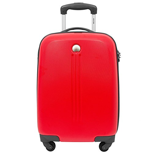 Delsey Cigale - Maleta de cabina de 4 ruedas, 52 cm, color negro rojo rojo
