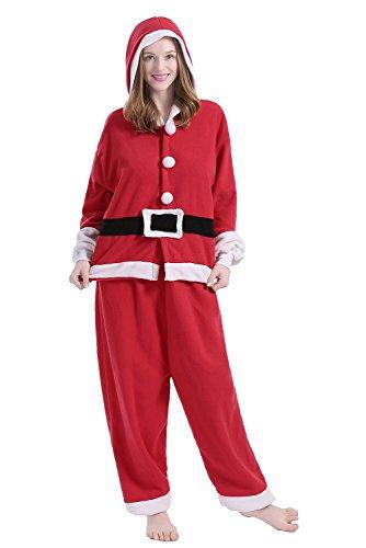BRLMALL Unisex Santa Claus Pyjamas Kigurumi Halloween Onesie - Bad Kostüm Halloween Santa
