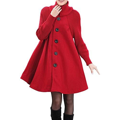 NPRADLA 2018 Herbst Frauen Mantel Winter Damen Strickjacke Lang Plus Größe Einfarbig Tasche Lose Hemdknopf Lässige(Rot,M)
