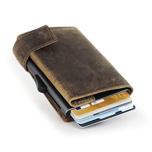 SecWal Kartenetui mit Geldbörse Münzfach Reissverschluss Leder Braun Hunter -
