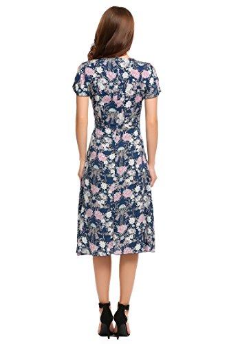 ACEVOG Damen Tiefer V Ausschnitt Geblümte Kleider Chiffon Maxi Kleid lang Strandkleider mit Kurzarm Blau