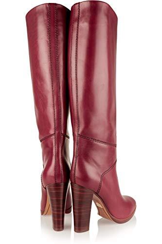 chenkel Hohe Stiefel Overknee Schenkelhoch Über Das Knie Blockabsatz Spitze rote Leder Mode Abend Hoher Absatz Schuhe Größe 35-46, Red ()