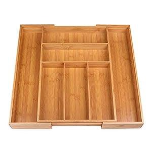 Schramm® Besteckkasten aus Bambus für Schubladen größenverstellbar 30-48x46x5 cm Schubfacheinlage Schubladeneinsatz 5-7 Fächer Besteckeinsatz Küchenorganizer