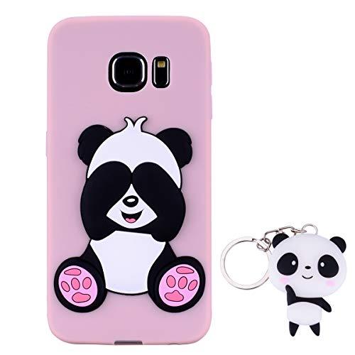 HopMore Panda Funda para Samsung Galaxy S6 Edge Silicona con Diseño 3D Divertidas Carcasa TPU Ultrafina Case Antigolpes Caso Protección Cover Dibujos Animados Gracioso con Llavero - Rosado