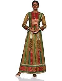 Ashima Leena Women's Jacket (AL- 002_M_Green & Red_36)