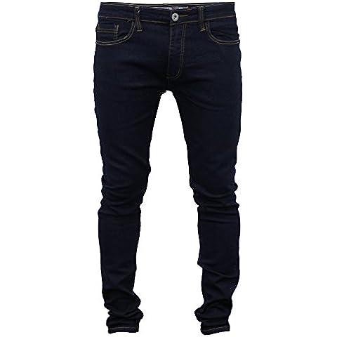 Uomo Jeans Aderenti Soul Star Slim Fit Stretch Denim Pantaloni Stretti In Fondo Nuovo