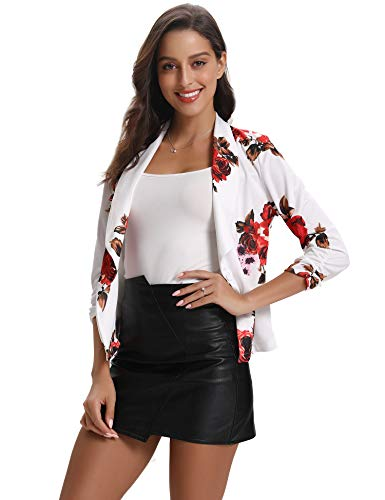 Abollria Damen Blazer Leicht Casual Tailliert Jersey Kurze Blazer Jacke 3/4 Arm Blumen Print Anzugjacke mit Knopf