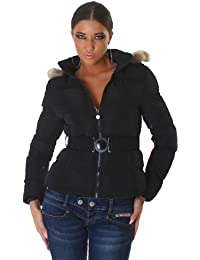 Stylish quilted jacket hooded black (WS-820)