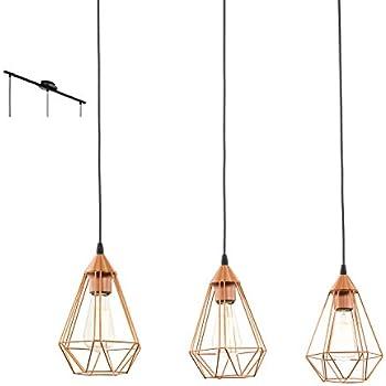 Eglo lampe suspendue culot e27 39 tarbes 39 noir mat for Suspension cuivre cuisine