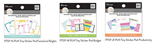 Me & My Big Ideas The Happy Planner Tiny Sticker Pad Vorteilspack: Funktionelle Leuchten, Budget, Produktivität (3er Set) -