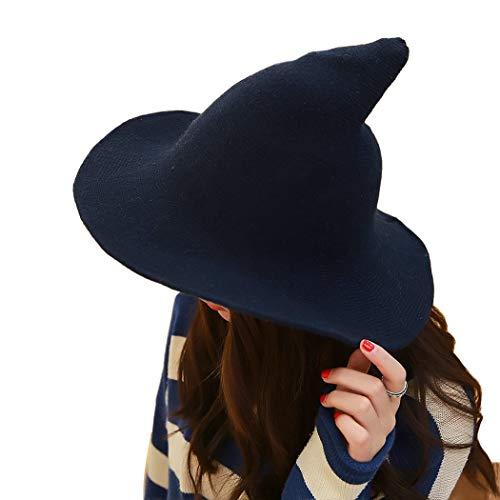 XWBO Damen Hexenhut Mütze Sharp Spitz Hexe Hat Beach Halloween Weihnachten Party Kostüm Cap aus Wolle 8,5 ()
