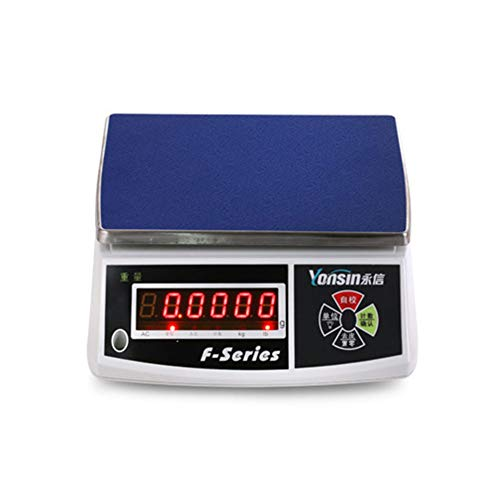 QWW Balanza electrónica de supermercado,Balanza Cuentapiezas Bascula Digital Balanza Comercial (30 kg / 1 g, Plataforma 28 x 20 cm, LCD),30kg/Singlewindow