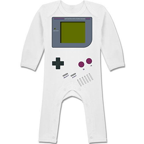 Shirtracer Strampler Motive - Gameboy - 3-6 Monate - Weiß - BZ13 - Baby-Body Langarm für Jungen und Mädchen
